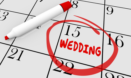 marrying: Wedding Marry Marriage Date Day Circled Calendar 3d Illustration