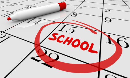 pen and marker: Back to School Day Date Education Training Calendar 3d Illustration Stock Photo