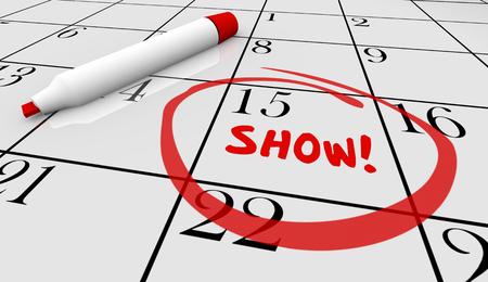 attending: Show Concert Event Performance Calendar Day Date 3d Illustration