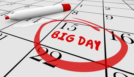 important: Big Important Day Date Reminder Circled Calendar 3d Illustration Stock Photo
