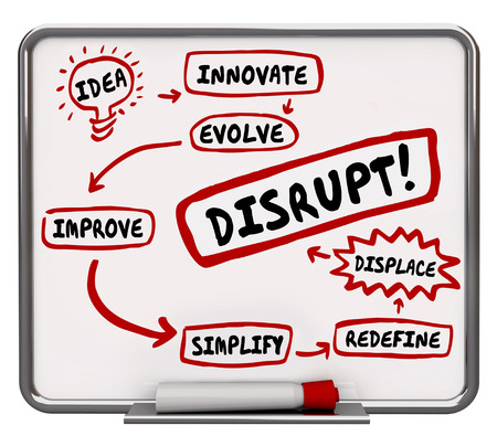 How to Disrupt Innovate Evolve Displace Workflow Diagram 3d Illustration Stock Photo