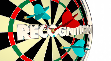 recognized: Recognition Appreciation Thanks Honoring Dart Board 3d Illustration Stock Photo