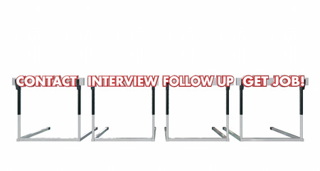 hiring: Get a Job Contact Interview Follow Up Hurdles 3d Illustration