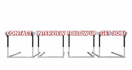 hurdles: Get a Job Contact Interview Follow Up Hurdles 3d Illustration