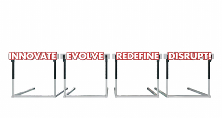 disrupting: Disrupt Jumping Over Hurdles Challenge Innovate Evolve Redefine 3d Illustration Stock Photo