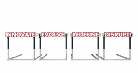 hurdles: Disrupt Jumping Over Hurdles Challenge Innovate Evolve Redefine 3d Illustration Stock Photo