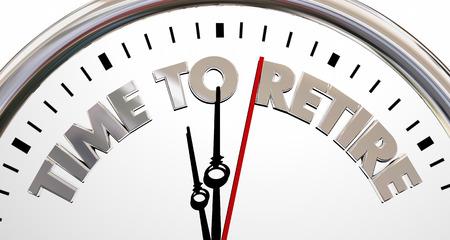 Tijd om Klok Stop End Working Words 3D-afbeelding met pensioen Stockfoto