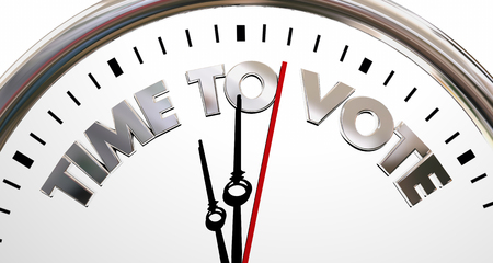 Time to Vote Deomocracy Election Clock Words 3d Illustration