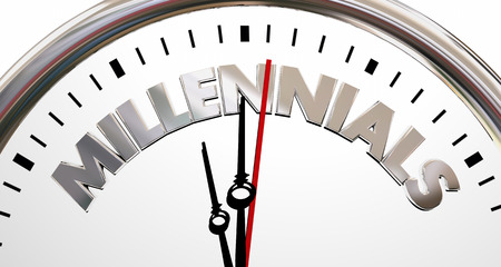 millennial: Millennials Generation Y Young People Clock Time 3d Illustration Stock Photo
