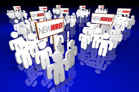Nieuwe Huren Medewerkers Rookies Workers Personeel Rekruten 3d Illustratie