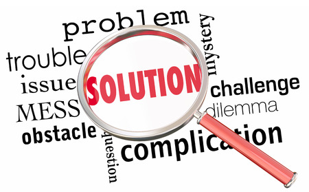 solve problem: Solution Solve Problem Issue Resolution Find Fix Magnifying Glass 3d Illustration Stock Photo