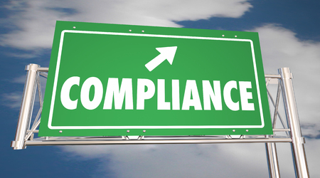 Compliance Follow Rules Road Freeway Sign Word 3d Illustration