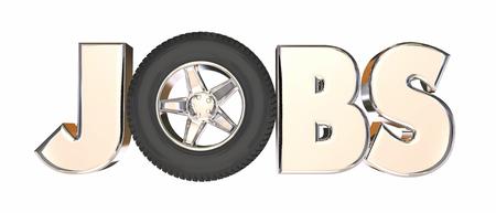 automotive industry: Jobs Automotive Trucking Career Wheels Word 3d Illustration