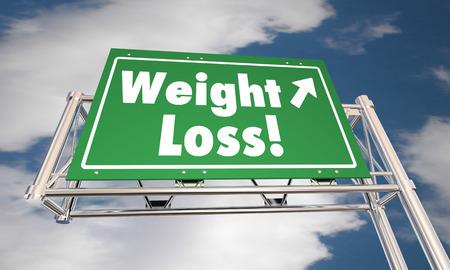 regimen: Weight Loss Diet Lose Fat Road Freeway Sign 3d Illustration Stock Photo