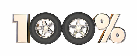 100 One Hundred Percent Number Car Wheels 3d Illustration Stock Photo