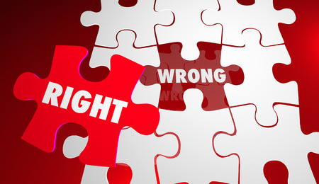 inaccurate: Right Vs Wrong Correct Accurate Puzzle Pieces 3d Illustration