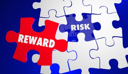 rewarding: Risk Vs Reward ROI Return Investment Puzzle 3d Illustration
