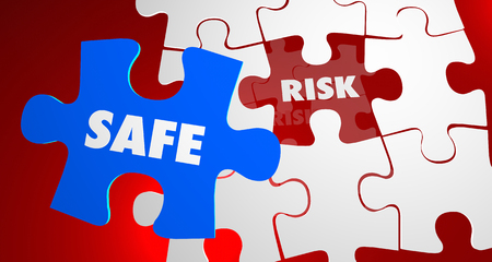 Risk Vs Safe Dangerous Security Puzzle Piece 3d Illustration