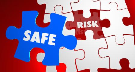 dangerous: Risk Vs Safe Dangerous Security Puzzle Piece 3d Illustration