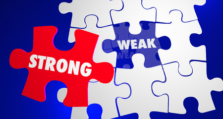 weak: Strong Vs Weak Strength Overcomes Weakness Puzzle 3d Illustration
