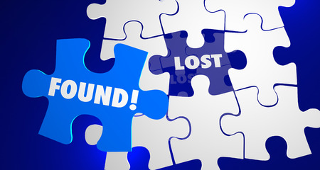 locate: Lost and Found Puzzle Piece Locate Misplaced 3d Illustration Stock Photo