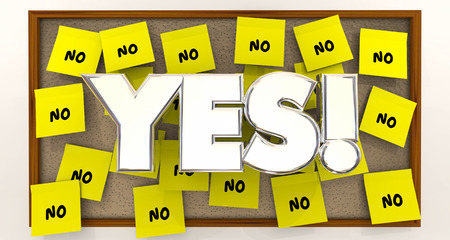 yes or no: Yes Vs No Overcome Objections Sticky Notes 3d Illustration Stock Photo