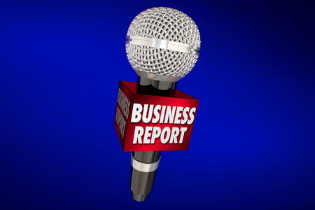 Business Report News Sales Financial Update Microphone 3d Illustration Archivio Fotografico