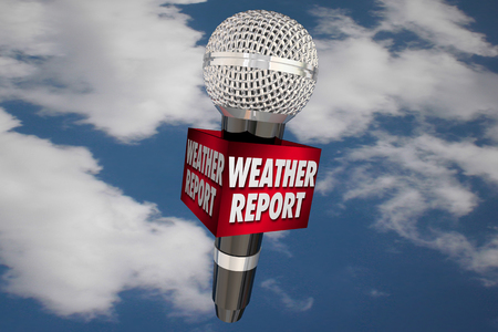 weather report: Weather Report Microphone Cloudy Sky Update News 3d Illustration