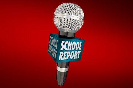 news update: School Report Education News Microphone Update 3d Illustration