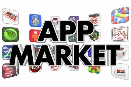 mobile app: App Market Buy Sell Download New Mobile Software 3d Illustration