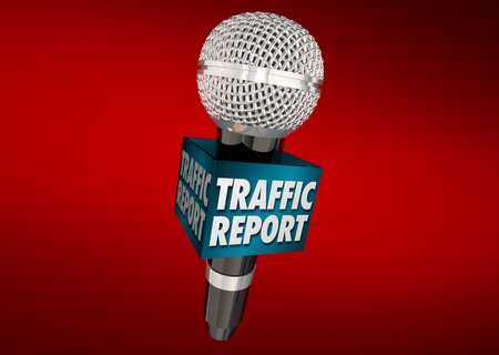 news update: Traffic Report Road News Update Microphone 3d Illustration