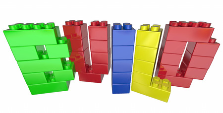 building planners: Build Construct Project Task Blocks Word Letters 3d Illustration