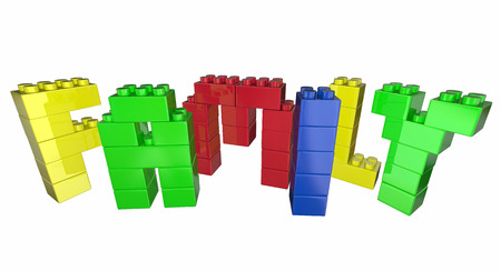 toy blocks: Family Toy Blocks Letters Word 3d Illustration