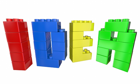 developed: Idea Toy Blocks Building Letters Word 3d Illustration