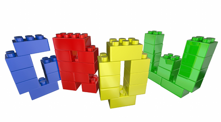 toy blocks: Grow Increase Improve Toy Blocks Word 3d Illustration Stock Photo