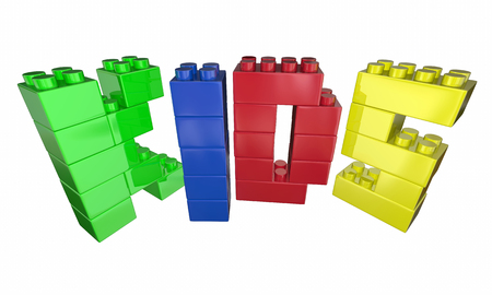 spells: Kids Word Letters Toy Blocks Play Time 3d Illustration Stock Photo
