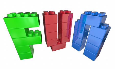 pile: Fun Playing Toy Blocks Letters Word 3d Illustration