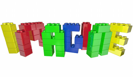 toy blocks: Imagine Dream Toy Blocks Word Letters 3d Illustration