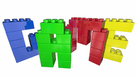 spells: Game Toy Blocks Play Together Fun Word 3d Illustration Stock Photo