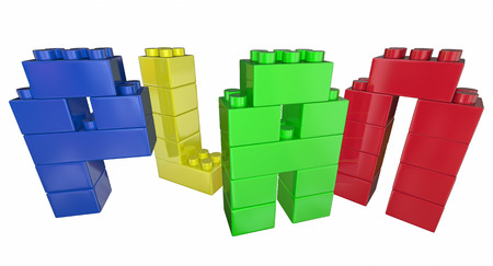 building planners: Plan Strategy Tactics Vision Building Blocks 3d Illustration Stock Photo