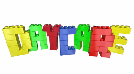 sitter: Daycare Child Care Center Toy Blocks Word 3d Illustration Stock Photo