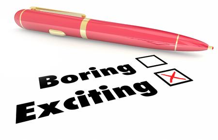 exciting: Exciting Vs Boring Fun Choice Pen Check Mark Box 3d Illustration