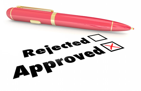 evaluated: Approved Vs Rejected Checklist Box Mark Pen 3d Illustration