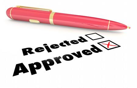 test passed: Approved Vs Rejected Checklist Box Mark Pen 3d Illustration
