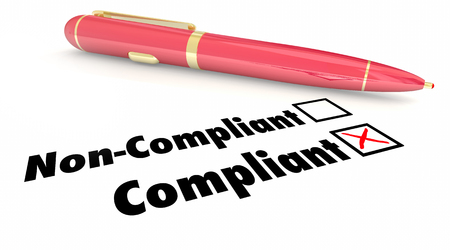compliant: Compliant Check Box Pen Mark Non Compliance 3d Illustration