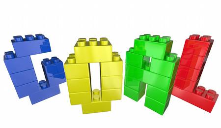 accomplishment: Goal Toy Blocks Achievement Accomplishment Success 3d Illustration