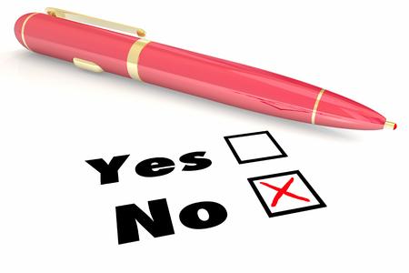 No Answer Vs Yes Negative Denial Rejection Pen Check Box 3d Illustration