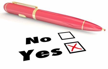 opposites: Yes Vs No Answer Choice Pen Check Mark Box 3d Illustration