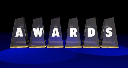reconocimientos: Premios Trofeos premios del concurso altos honores 3d ilustración