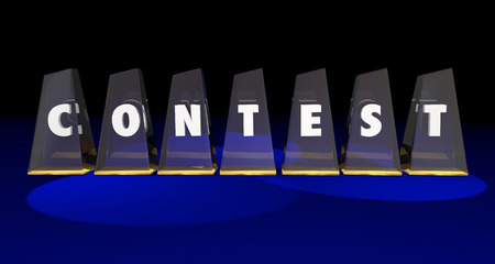 awarded: Contest Awards Competition Enter Win Word Letters 3d Illustration